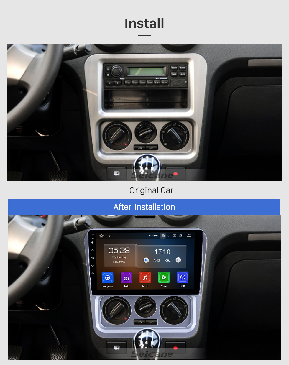 Seicane OEM 9 pouces Android 9.0 pour 2009 2010 2011 2012 2013 Geely Ziyoujian Radio Bluetooth HD Écran tactile Navigation GPS Support Carplay OBD2