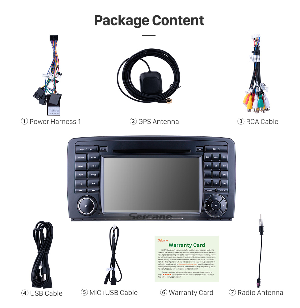 Seicane 7 inch Android 9.0 for 2006-2011 2012 2013 Mercedes Benz R Class W251 R280 R300 R320 R350 R500 R63 Radio with HD Touchscreen GPS Navigation Carplay Bluetooth support 1080P