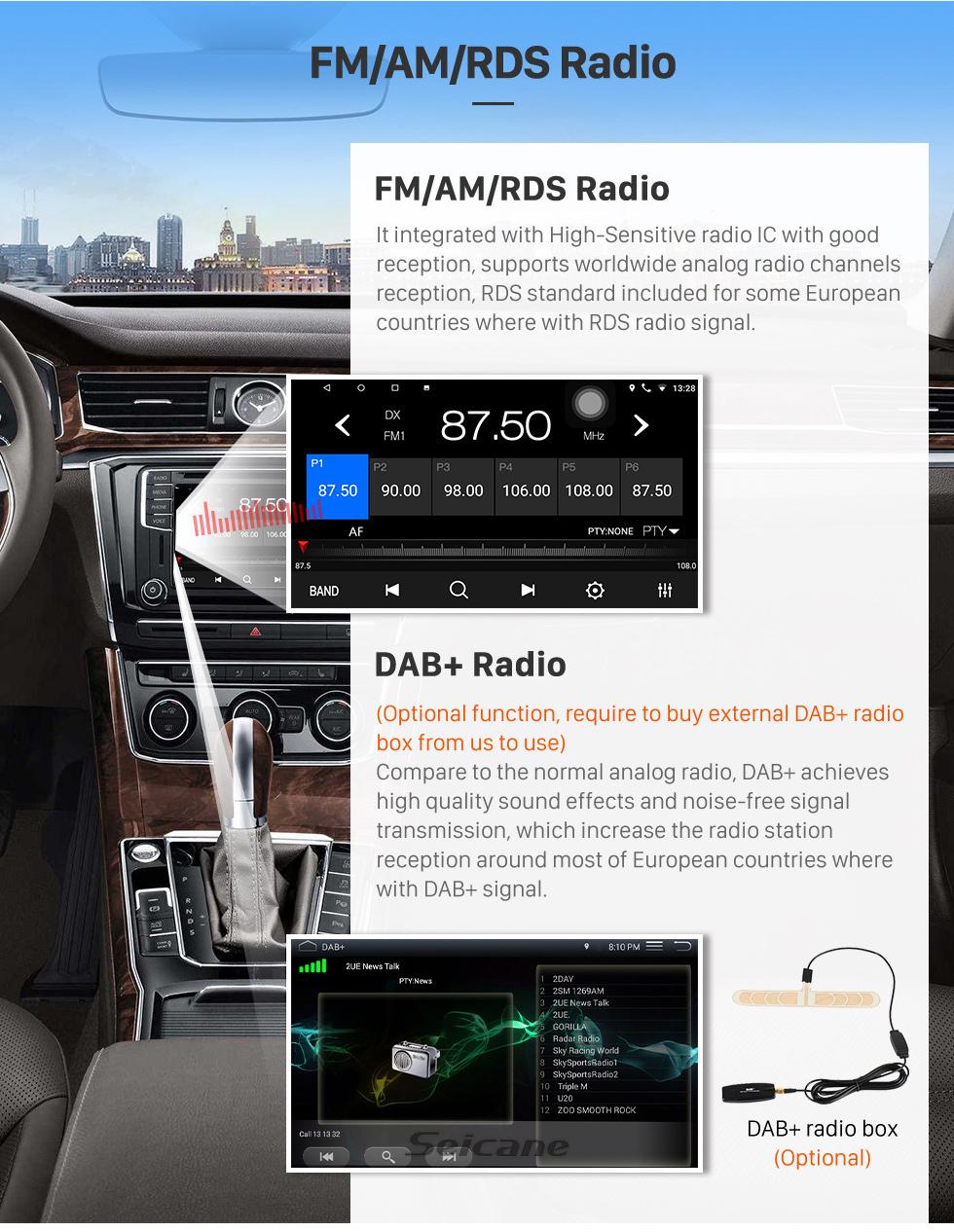 Seicane 9-Zoll-Android 8.1 2013 2014 2016 2016 2016 Ford-Radio-GPS-Navigationssystem mit HD-Unterstützung 3G-WIFI-Unterstützungsunterstützungskamera-TPMS-Lenkradsteuerspiegelverbindung OBD2 DVR