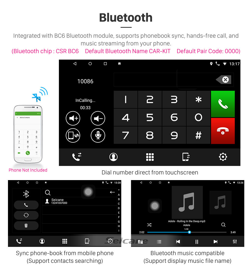 Seicane HD Touchscreen de 9 polegadas para 2009 2010 2011 2012 Changan Alsvin V5 Radio Android 8.1 Sistema de Navegação GPS com suporte Bluetooth Carplay DAB +