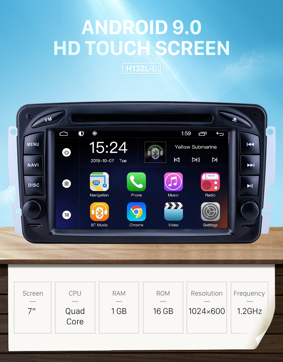 Seicane OEM 7 inch Android 9.0 for 1998 1999 2000-2006 Mercedes Benz CLK-Class W209/G-Class W463 Radio Bluetooth HD Touchscreen GPS Navigation System support Carplay