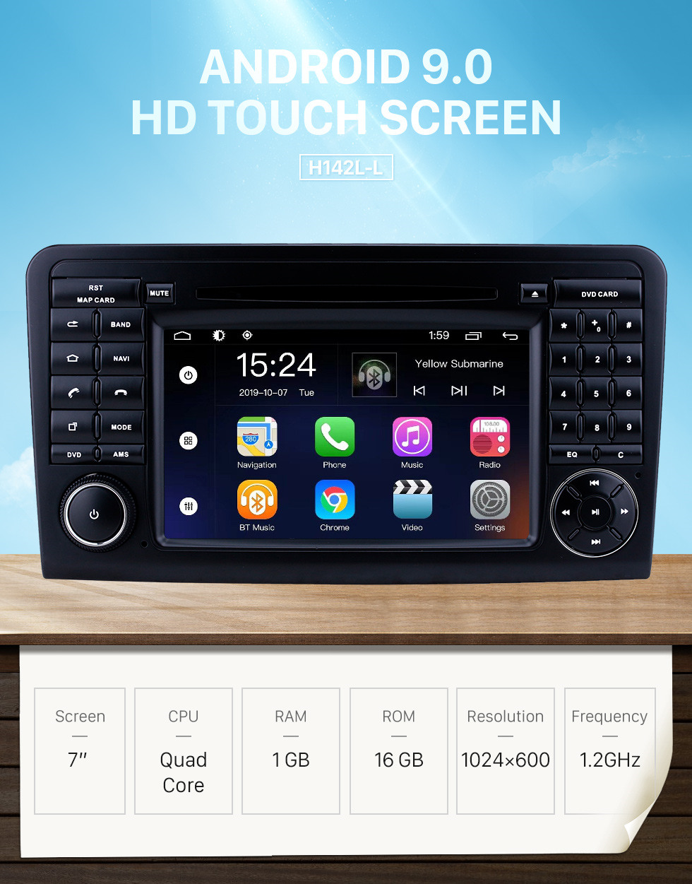 Seicane Android 9.0 7 inch for Mercedes Benz ML CLASS W164 ML350 ML430 ML450 ML500/GL CLASS X164 GL320 Radio HD Touchscreen GPS Navigation System with Bluetooth support Carplay DVR