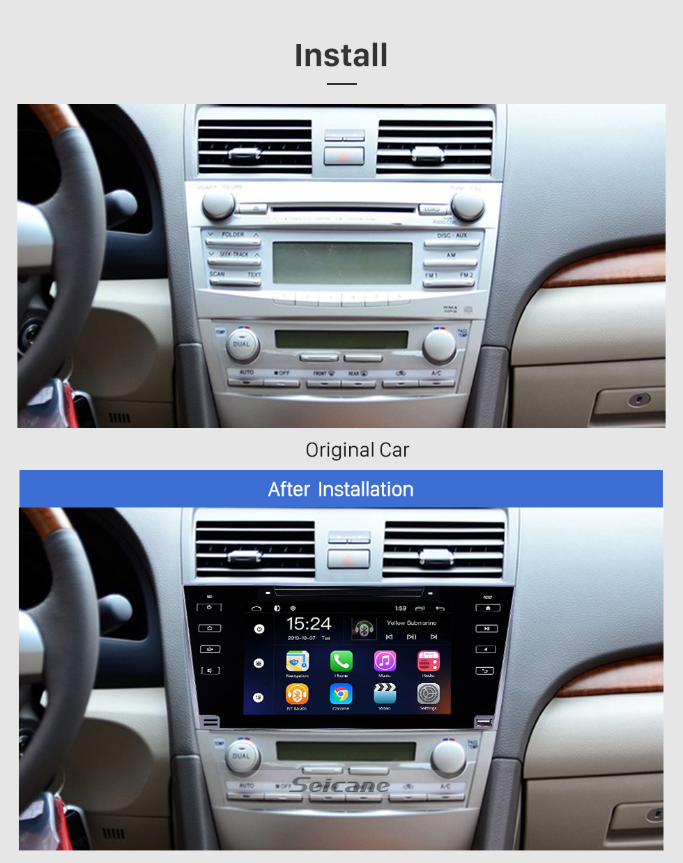 Seicane OEM 8 inch Android 9.0 for 2007 2008 2009 2010 2011 Toyota Camry Radio Bluetooth HD Touchscreen GPS Navigation System support Carplay