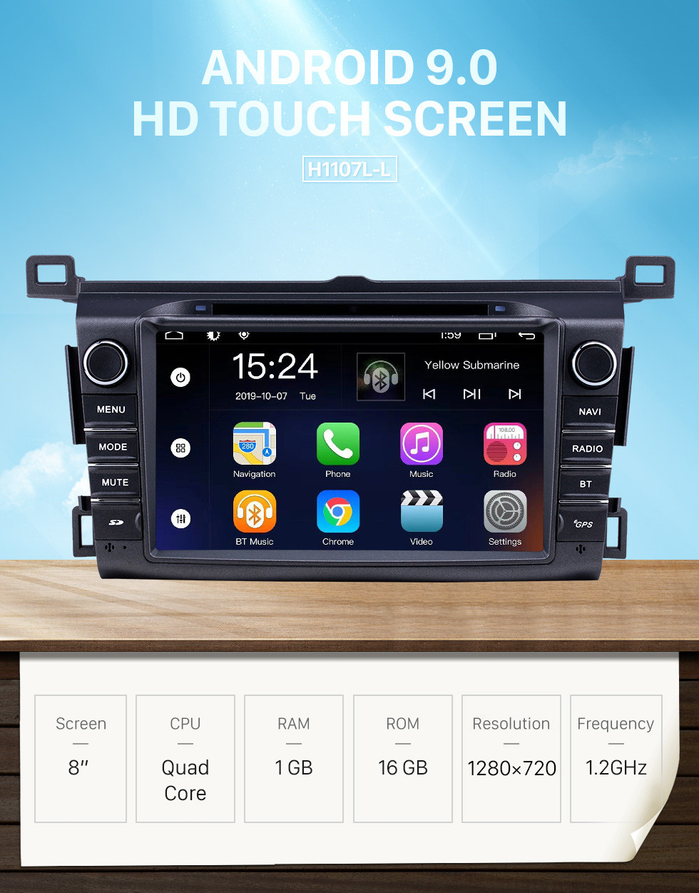 Seicane 8 inch Android 9.0 for 2006 2007 2008-2013 Toyota RAV4 Radio With HD Touchscreen GPS Navigation System Bluetooth support Carplay
