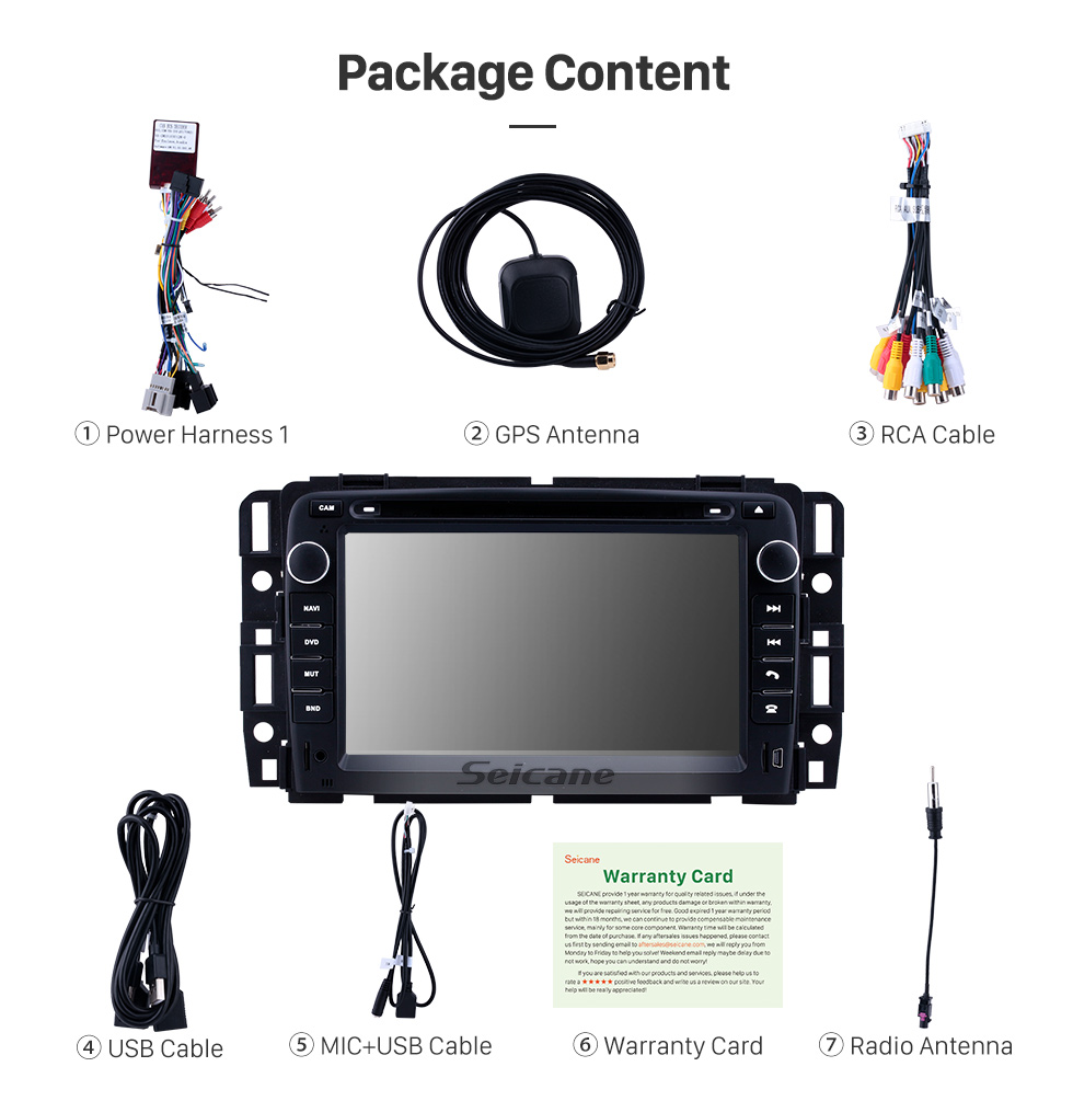 Seicane 7 inch Android 9.0 for 2007 2008 2009-2012 General GMC Yukon/Chevy Chevrolet Tahoe/Buick Enclave/Hummer H2 Radio With HD Touchscreen GPS Navigation System Bluetooth support Carplay