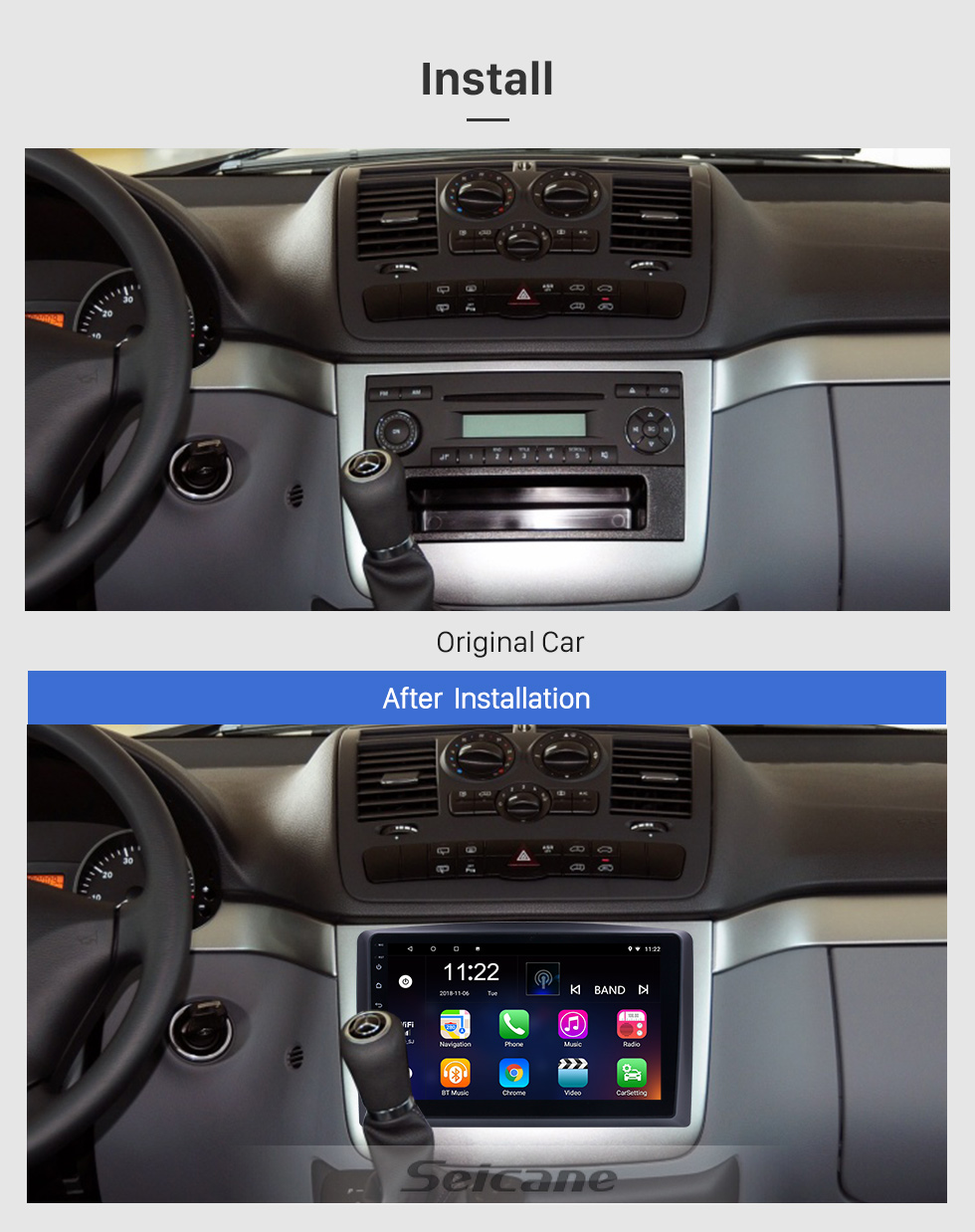 Seicane 10.1 inch Android 8.1 for 2010 2011 2012-2015 Mercedes Benz Vito Radio Bluetooth HD Touchscreen GPS Navigation System support Carplay TPMS