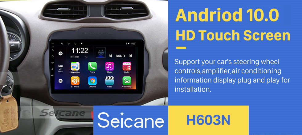 Seicane 2016 Jeep Renegade 9 inch Touchscreen Android 10.0 Radio GPS Navigation system with USB Bluetooth WIFI 1080P Aux Mirror Link Steering wheel control