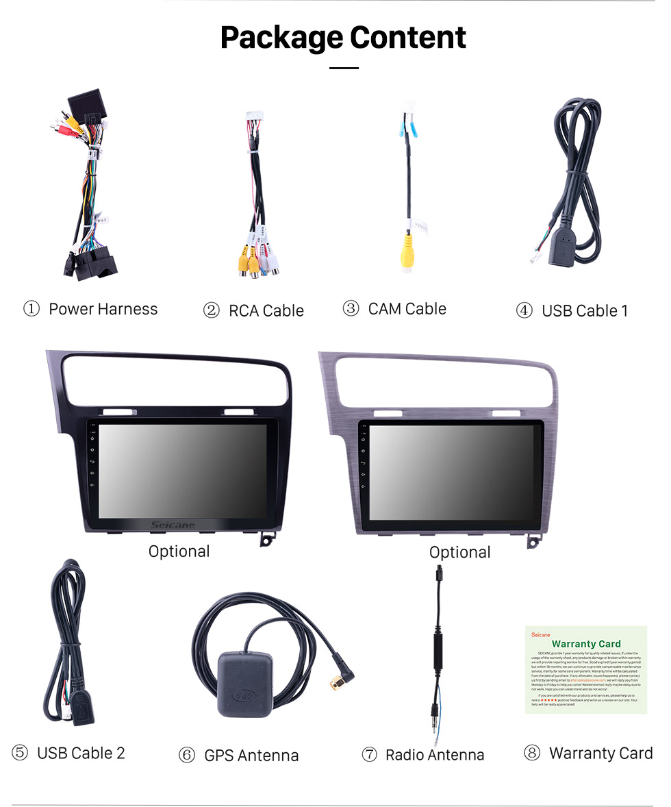 Seicane HD Touch Screen 10.1 inch Android 10.0 for 2013 2014 2015 VW Volkswagen Golf 7 GPS Navigation Radio with WIFI Bluetooth support Rear Camera 1080P
