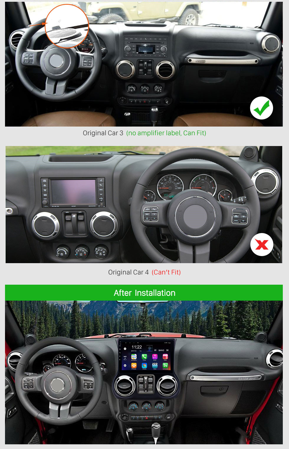 Seicane Android 10.0 10.1 Inch 1024*600 Touchscreen Radio For 2011 2012 2013 2014 2015 2016 2017 JEEP Wrangler Bluetooth Music GPS Navigation Head Unit Support Mirror Link DAB+ OBDII USB TPMS 3G WiFi Steering Wheel Control