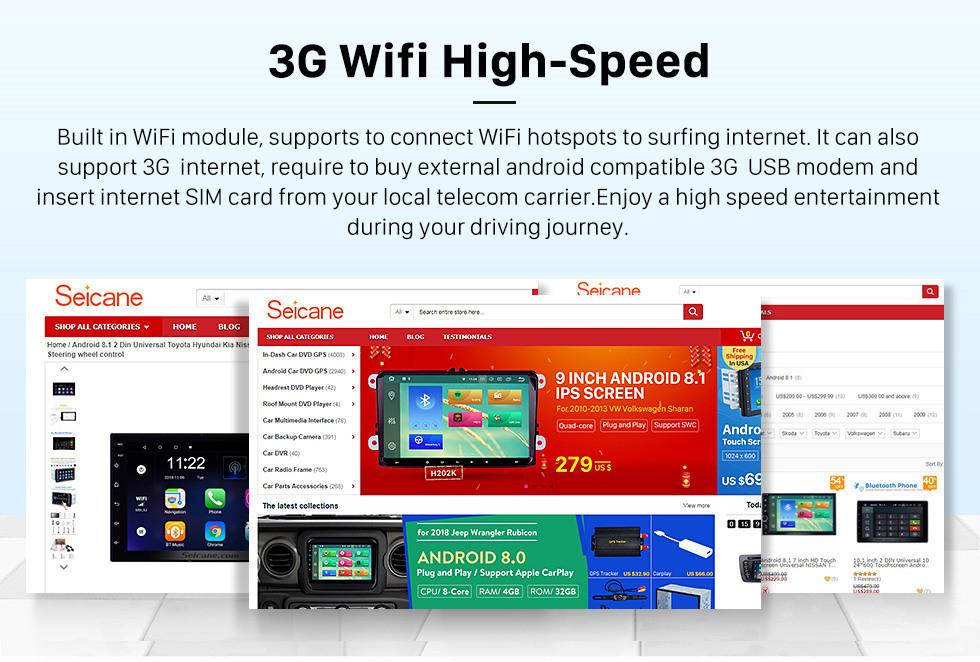 Seicane 10.1 pulgadas HD 1024 * 600 pantalla táctil HD Android 8.1 Navegación GPS universal Bluetooth Sistema de audio y audio para automóvil Compatibilidad con Mirror Link 3G WiFi Cámara de respaldo DVR DAB + Control del volante