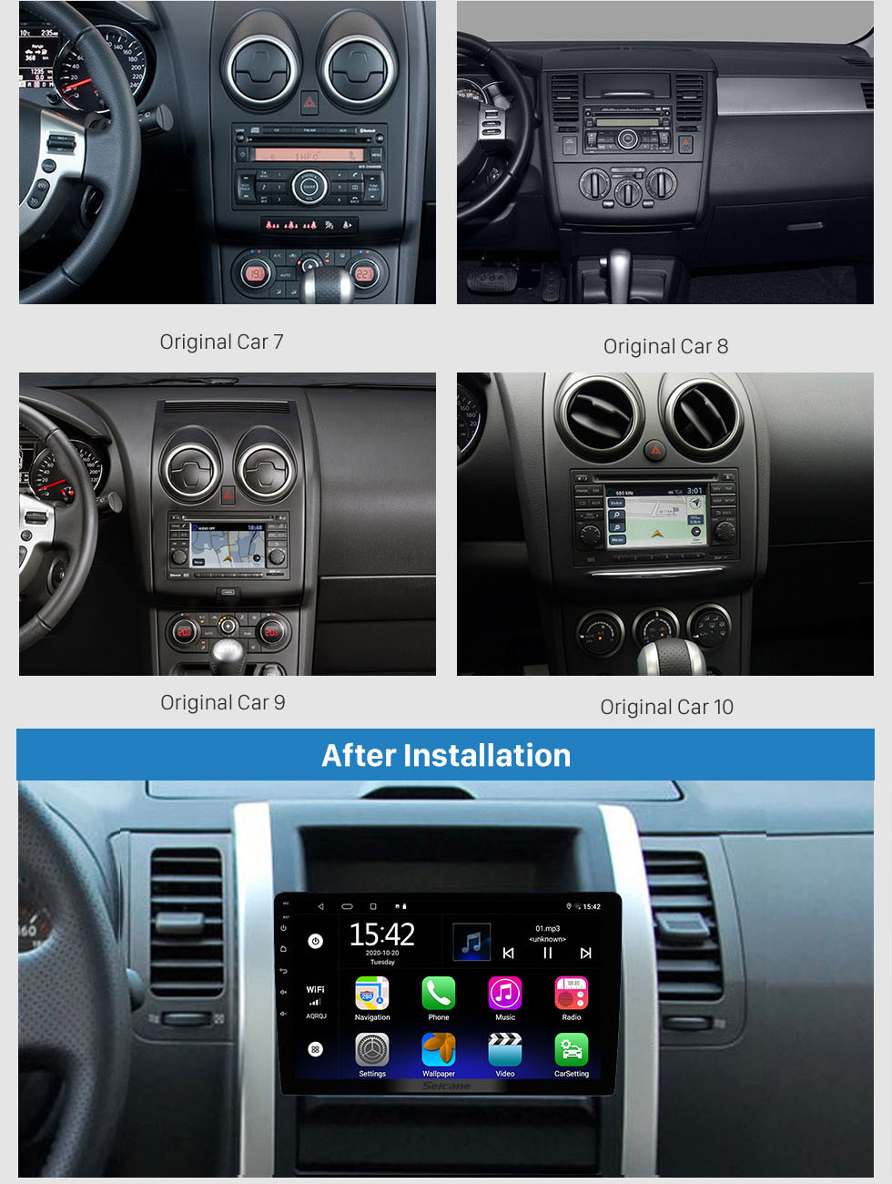 Seicane 10.1 inch HD 1024*600 HD touchscreen Android 10.0 Universal GPS Navigation Bluetooth Car Audio System Support Mirror Link 3G WiFi Backup Camera DVR DAB+ Steering Wheel Control