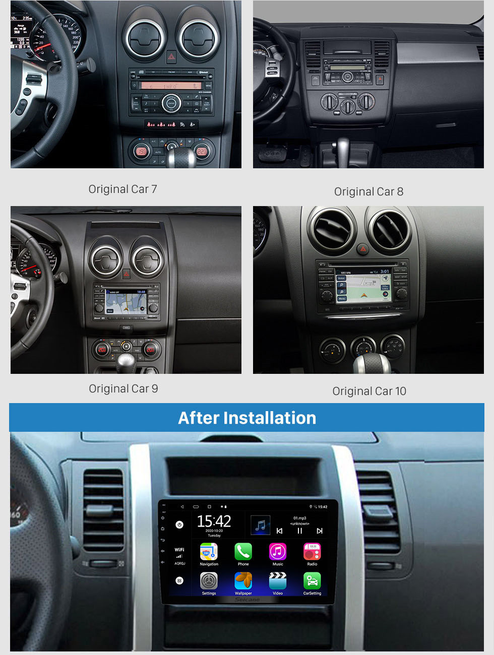 Seicane HD Touchscreen Android 10.0 9 inch Universal GPS Navigation Radio with Bluetooth WIFI Support 1080P Video Steering Wheel Control Mirror Link