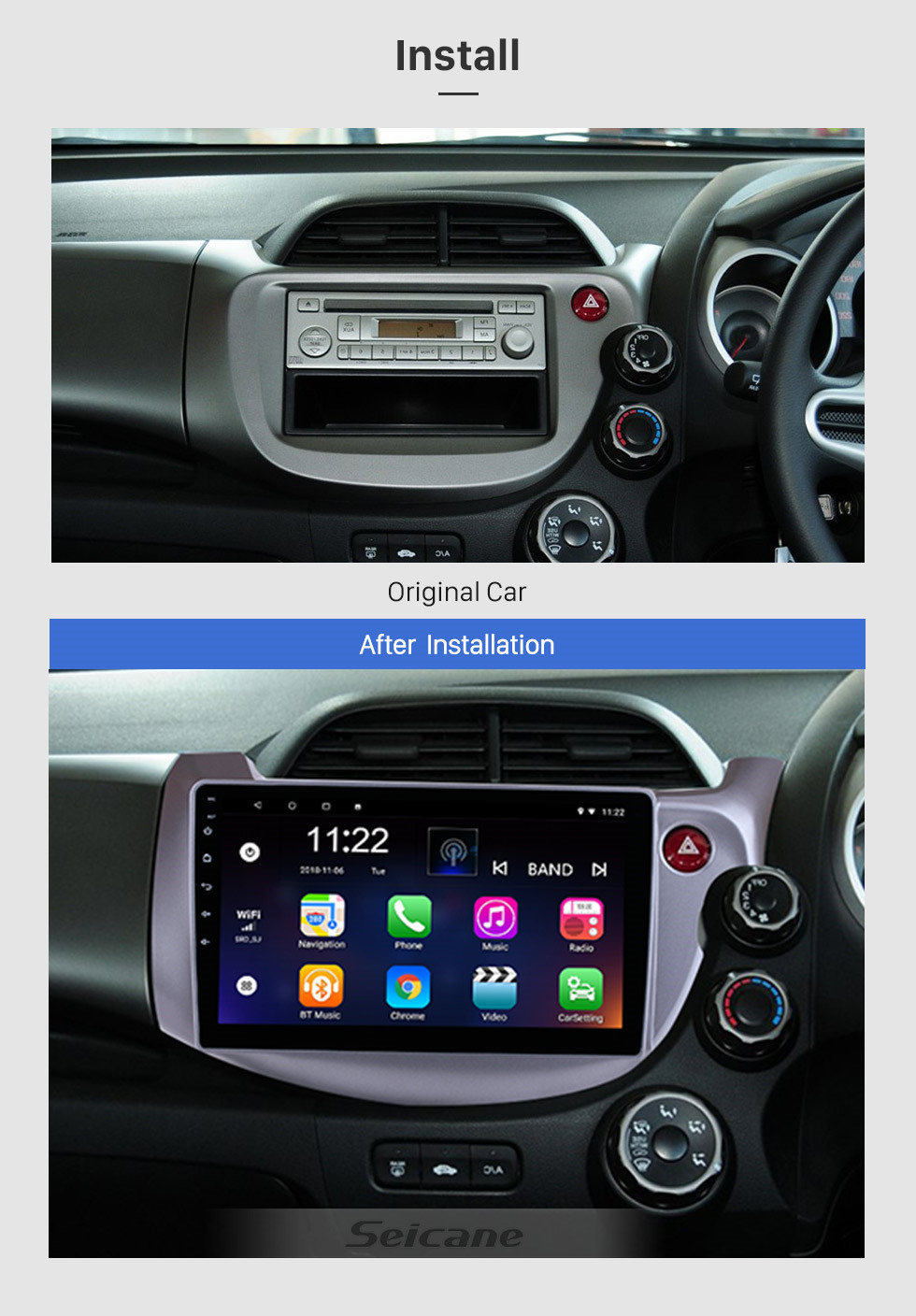 Seicane Android 10.0 2007-2013 HONDA FIT JAZZ RHD 10.1 inch Radio GPS Navigation Head Unit Touch Screen Bluetooth Music WiFi OBD2 Mirror Link Rearview Camera Video AUX DVR