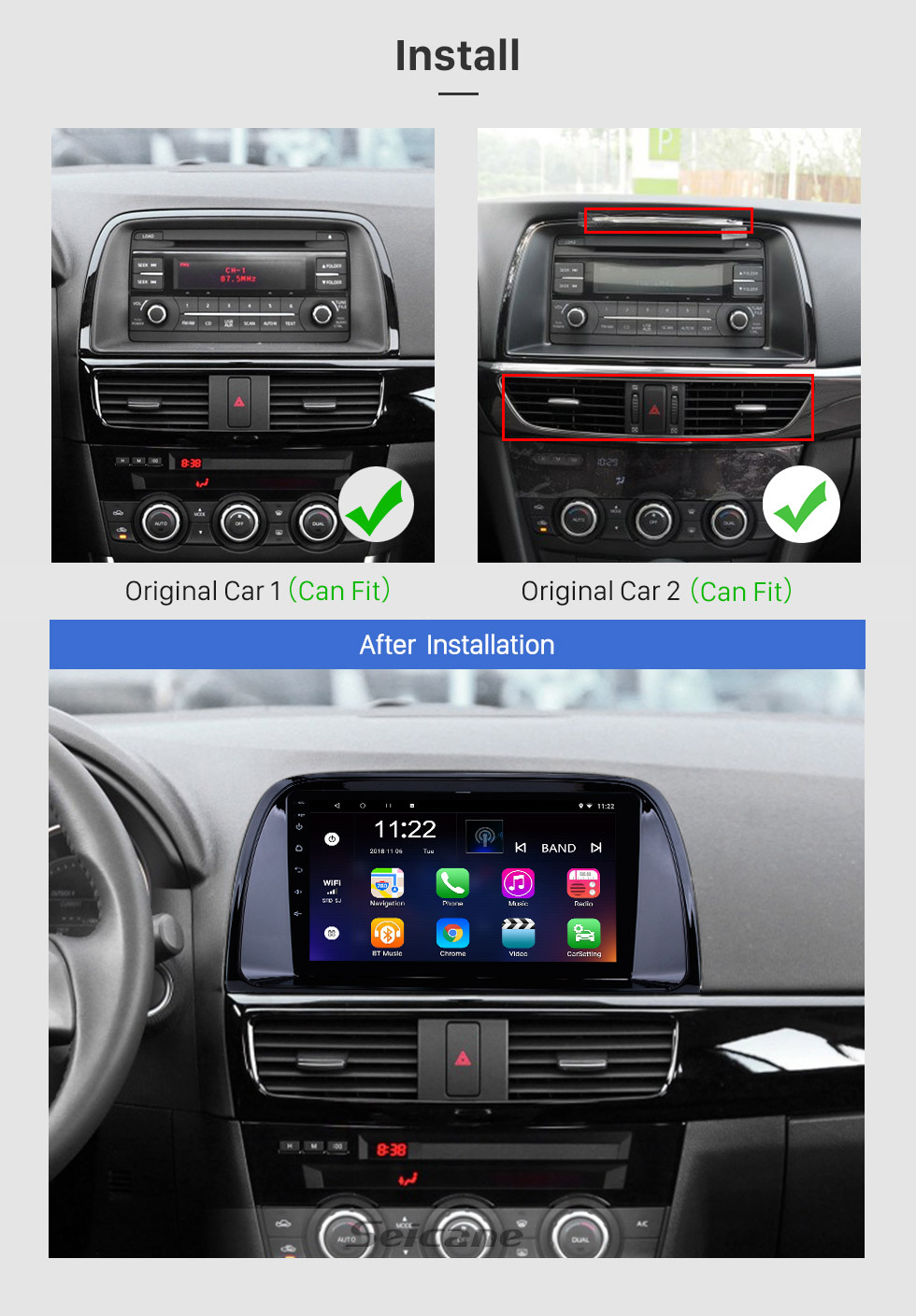 Seicane Android 10.0 9 inch 2012-2015 Mazda CX-5 HD Touchscreen GPS Navigation Radio with WIFI Bluetooth Music USB support Carplay OBD2 AUX Backup Camera