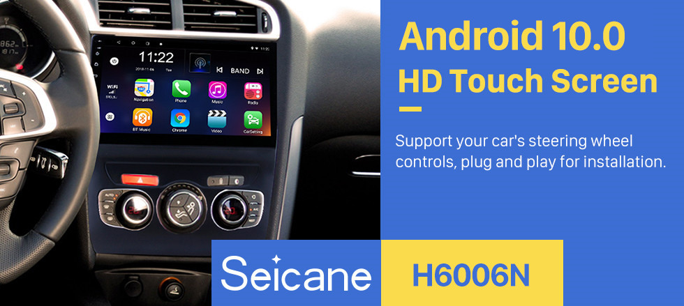 Seicane 10.1 inch HD touchscreen Android 10.0 GPS Navigation System Bluetooth Radio for  2013 2014 2015 2016 Citroen C4 LHD Steering Wheel Control Support DVR Rear View Camera WIFI OBD II