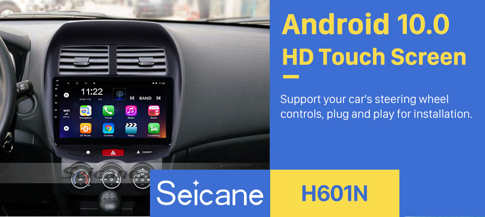 Seicane 10.1 inch 2010-2015 Mitsubishi ASX Peugeot 4008 1024*600 HD Touchscreen Android 10.0 GPS Radio with Sat Nav Bluetooth USB WIFI DVR OBD2 Mirror Link 1080P Video