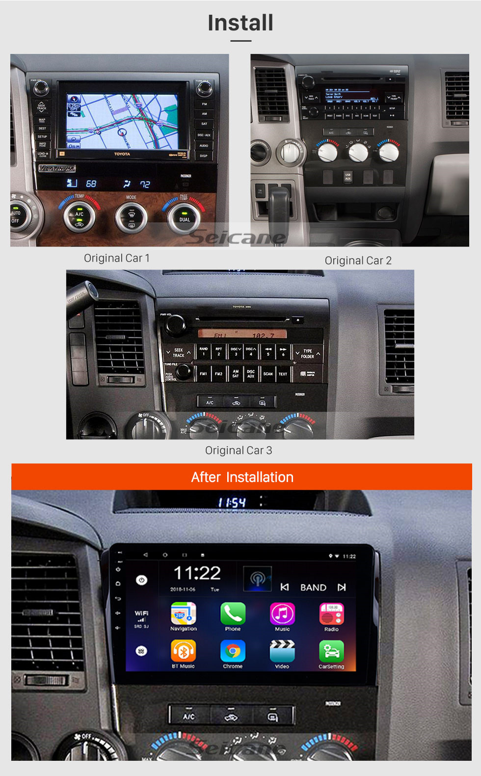 Seicane 10.1 inch HD touchscreen Radio GPS Navigation System Android 10.0 for 2008-2015 TOYOTA Sequoia 2006-2013 Tundra Support Radio Carplay Bluetooth OBD II DVR 3G WIFI Rear view camera