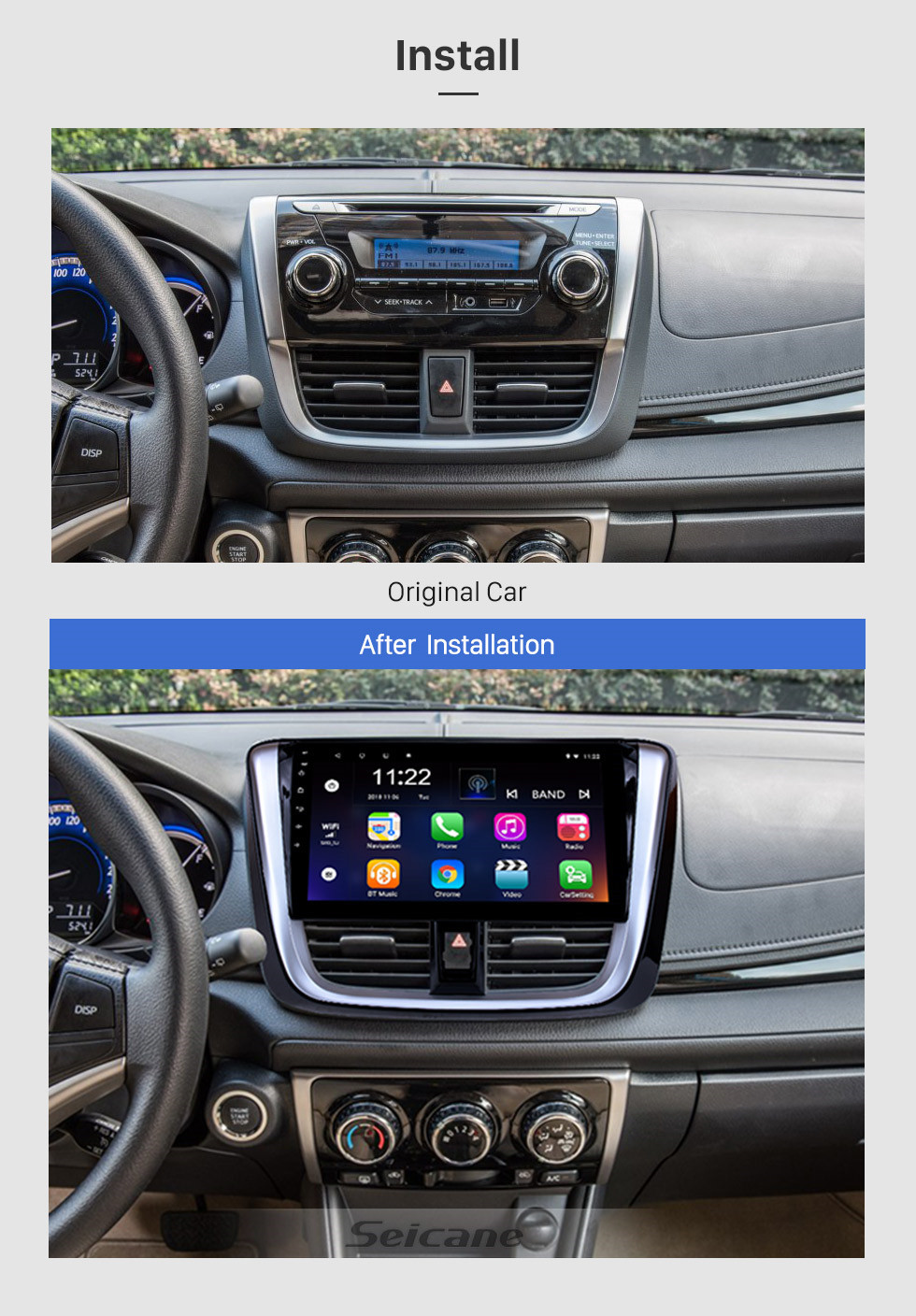 Seicane 10.1 inch 2014 2015 2016 2017 TOYOTA VIOS Yaris Android 10.0 HD Touchscreen Radio Head Unit GPS Navigation System Support Bluetooth OBD II DVR 3G WIFI Rear view camera