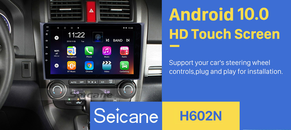 Seicane 9 Inch HD Touchscreen Radio Android 10.0 Head Unit For 2006-2011 Honda CRV Car Stereo GPS Navigation System Bluetooth Phone WIFI Support 1080P Video OBDII Steering Wheel Control USB