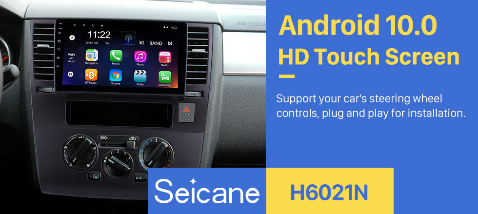 Seicane 9 inch 2005-2010 Nissan Tiida Android 10.0 HD Touch Screen GPS Navigation Radio Bluetooth 3G Wifi Digital TV Steering Wheel Control Mirror Link Music