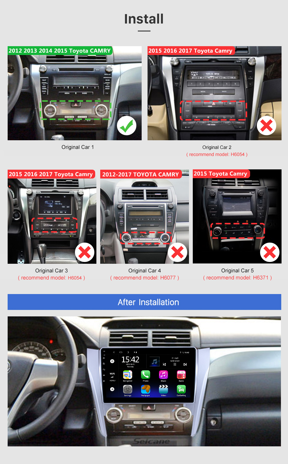 Seicane 10.1 inch Full Touchscreen 2012 2013 2014 2015 Toyota CAMRY Android 10.0 GPS Navigation System With Radio Rearview Camera 3G WiFi Bluetooth Mirror Link OBD2 DVR Steering wheel control
