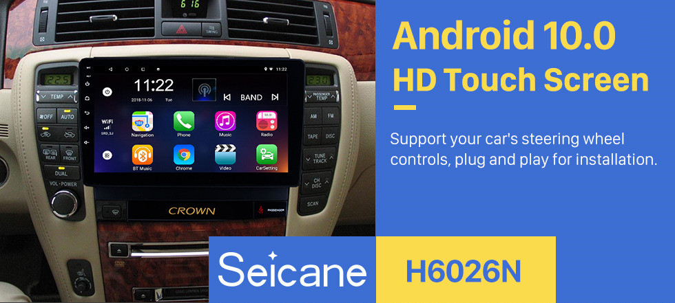 Seicane 9 Inch Android 10.0 GPS Navigation system Touch Screen radio For 2010-2014 Toyota old crown LHD Bluetooth PMS DVR OBD II USB Rear camera Steering Wheel Control