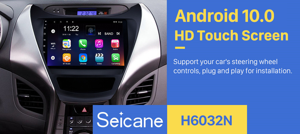 Seicane 9 Inch OEM Android 10.0 Navigation System Bluetooth For 2011 2012 2013 Hyundai Elantra With Touch Screen DVD Player TV tuner Remote Control Radio