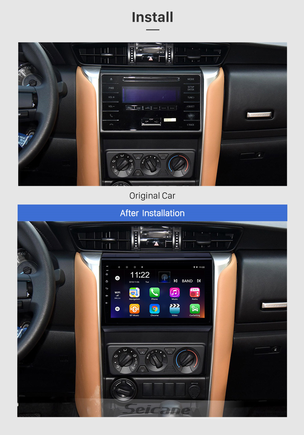 Seicane 9 inch Android 10.0 HD Touch Screen Radio GPS Navigation For 2015-2018 TOYOTA FORTUNER/ COVERT Bluetooth Digital TV 3G Wifi DVR OBD II Rearview Camera