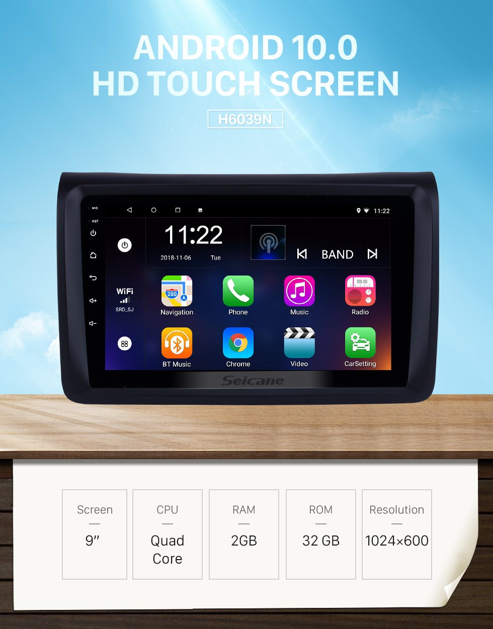 Seicane 9 inch Android 10.0 HD Touchscreen auto Radio for NISSAN NV350 with GPS Navigation Bluetooth Wifi Link USB FM support Rear view camera DVR SCW
