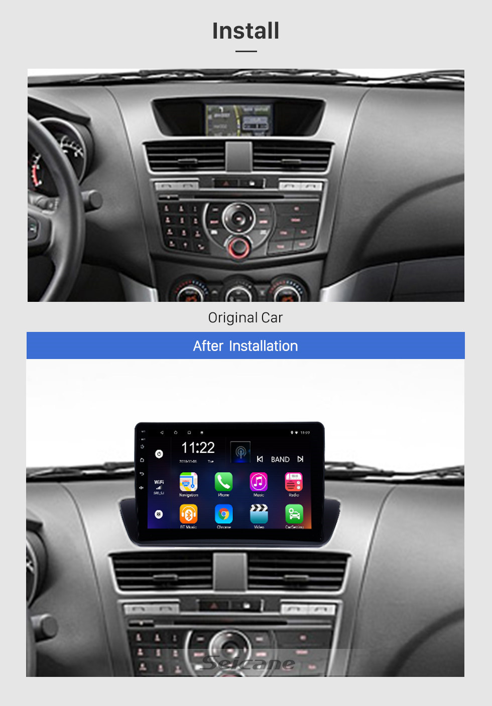Seicane 9 inch OEM GPS Navigation Android 10.0 Stereo for 2012-2018 Mazda BT-50 Overseas version Touchscreen Radio Bluetooth Link WIFI AUX USB Steering Wheel Control support OBD 3G DVR