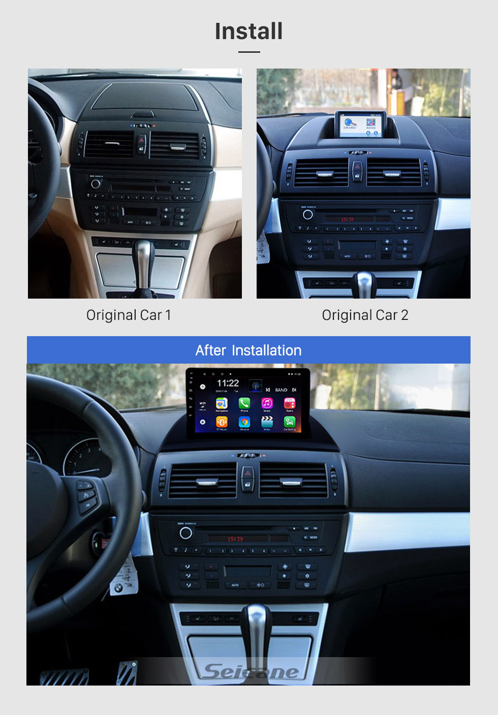 Seicane HD Touchscreen Android 10.0 9 inch for 2004 2005 2006-2012 BMW X3 E83 2.0i 2.5i 2.5si 3.0i 3.0si 2.0d 3.0d 3.0sd GPS Navigation System Radio with Bluetooth support Carplay