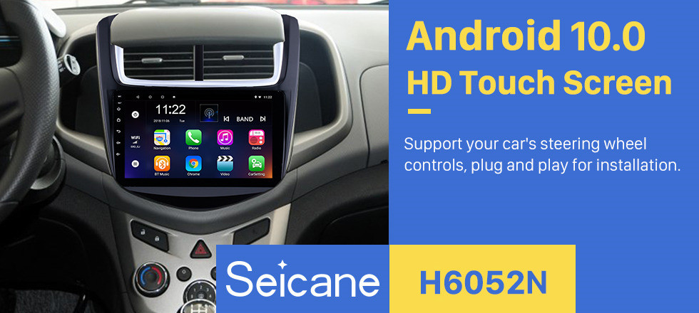 Seicane 9 Inch OEM Navigation System Android 10.0 Radio For 2014 Chevy Chevrolet Aveo 1024*600 Touch Screen MP5 Player TV tuner Remote Control Bluetooth music