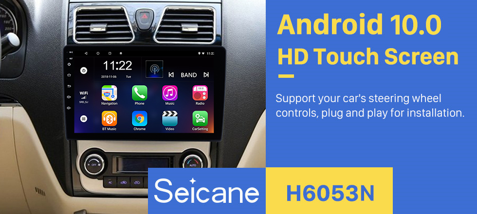 Seicane 2012 2013 2014 Geely Emgrand EC7 Android 10.0 GPS Navigation Car Stereo 3G WiFi AM FM Radio Bluetooth Music Mirror Link OBD2 Rearview Camera Steering Wheel Control MP3