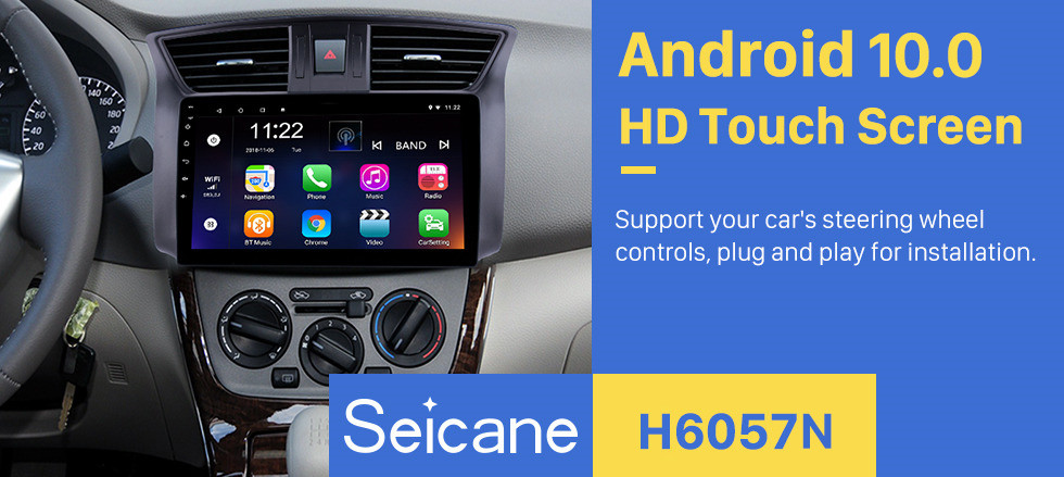 Seicane 10.1 inch 2012-2016 Nissan Sylphy Android 10.0 HD Touchscreen GPS Navi head unit Radio USB Bluetooth Support WIFI Mirror Link DVR OBD2 TPMS Aux