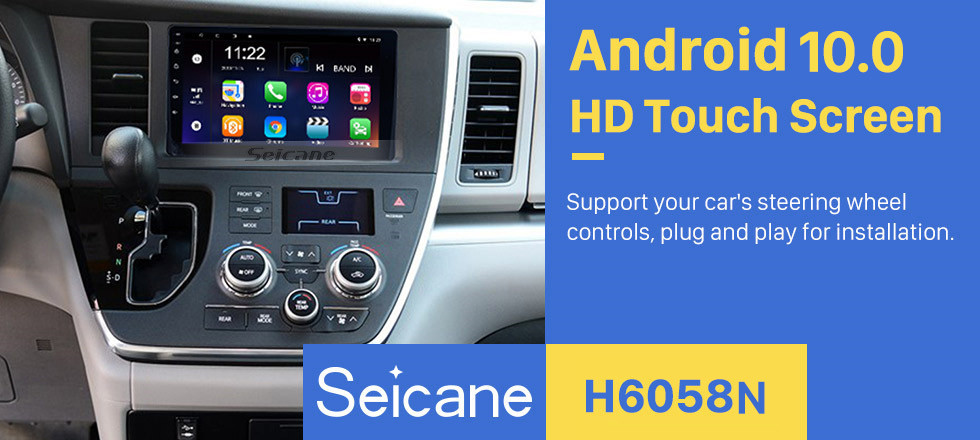 Seicane 9 inch HD Touchscreen Radio GPS Navigation 2015 TOYOTA Sienna Android 10.0 Car stereo with 3G Wifi Bluetooth Music Backup Camera Steering Wheel Control