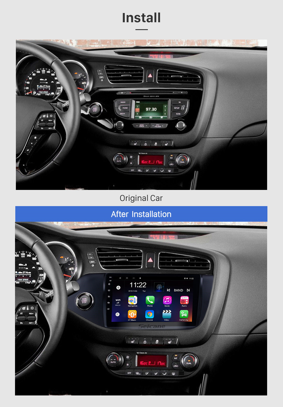 Seicane 9 inch Android 10.0 2012 2013 2014 Kia Ceed LHD HD Touch Screen Radio GPS Navigation Bluetooth  Rearview Camera TV 3G WIFI 1080P Steering Wheel Control