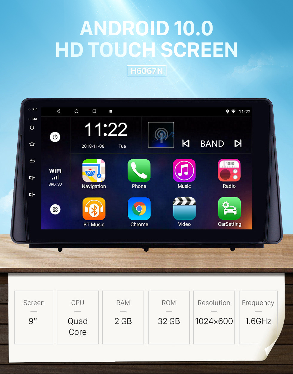 Seicane HD Touchscreen 9 inch Android 10.0 GPS Navigation Radio for 2019 Ford Focus with Bluetooth AUX Music support DVR Carplay Steering Wheel Control