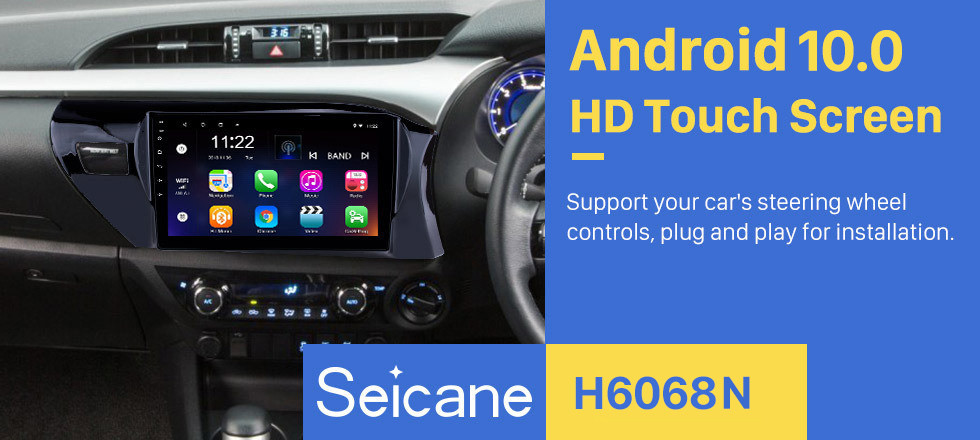 Seicane OEM HD Touchscreen 10.1 inch Android 10.0 Radio for 2016-2018 Toyota Hilux RHD Bluetooth GPS Navi Head unit Steering Wheel Control 3G WIFI Mirror Link TPMS USB FM