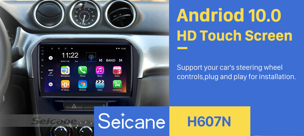 Seicane 9 inch HD Touchscreen Android 10.0 2015 2016 SUZUKI VITARA Radio Bluetooth GPS Navigation Car stereo with OBD2 WIFI Backup Camera Mirror Link Steering Wheel Control