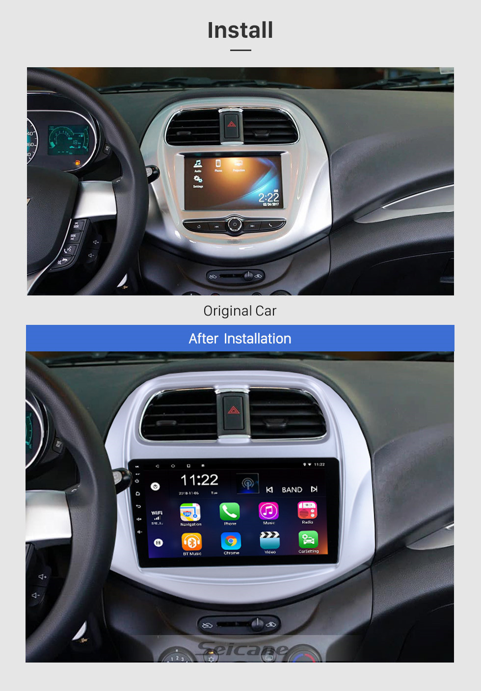 Seicane 2018 Chevy Chevrolet SPARK Android 10.0 HD Touchscreen 9 inch Buetooth GPS Navi Head unit auto radio with AUX WIFI Steering Wheel Control CPU support Rear view Camera DVR OBD