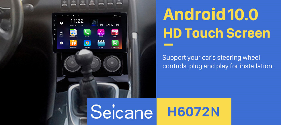 Seicane All in one Android 10.0 HD Touchscreen 9 inch Auto Radio for 2009-2012 Peugeot 3008 with Bluetooth music GPS Navigation system USB Wifi Steering Wheel Control support DVR Backup Camera OBD2