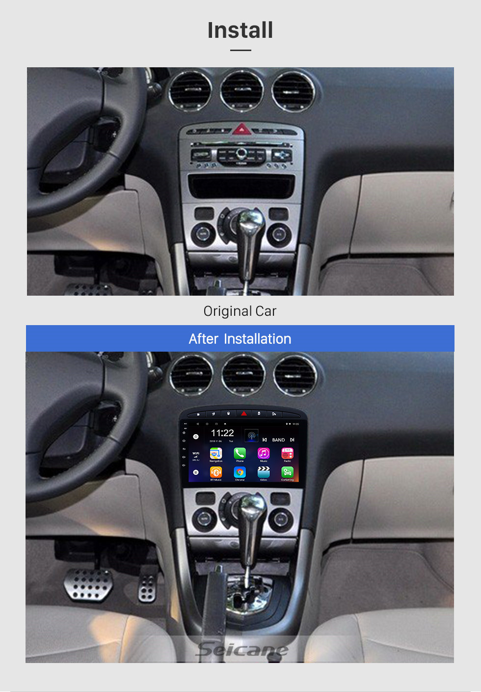 Seicane Aftermarket 9 inch Android 10.0 car stereo for 2010-2016 PEUGEOT 408 with GPS Navigation Bluetooth Car stereo Head Unit Touch Screen Mirror Link OBD2 3G WiFi Video USB SD
