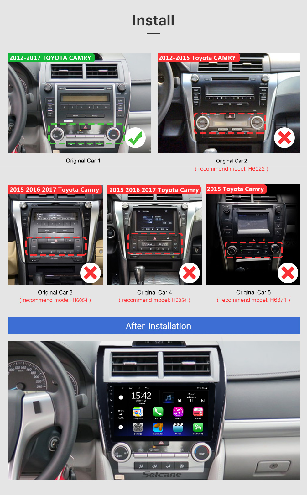 Seicane 10.1 Inch Android 10.0 HD Touchscreen Car Radio MP5 Player For 2012-2017 TOYOTA CAMRY GPS Navigation Bluetooth Phone Music WIFI Support OBD2 USB DAB+ Mirror Link Steering Wheel Control Backup Camera
