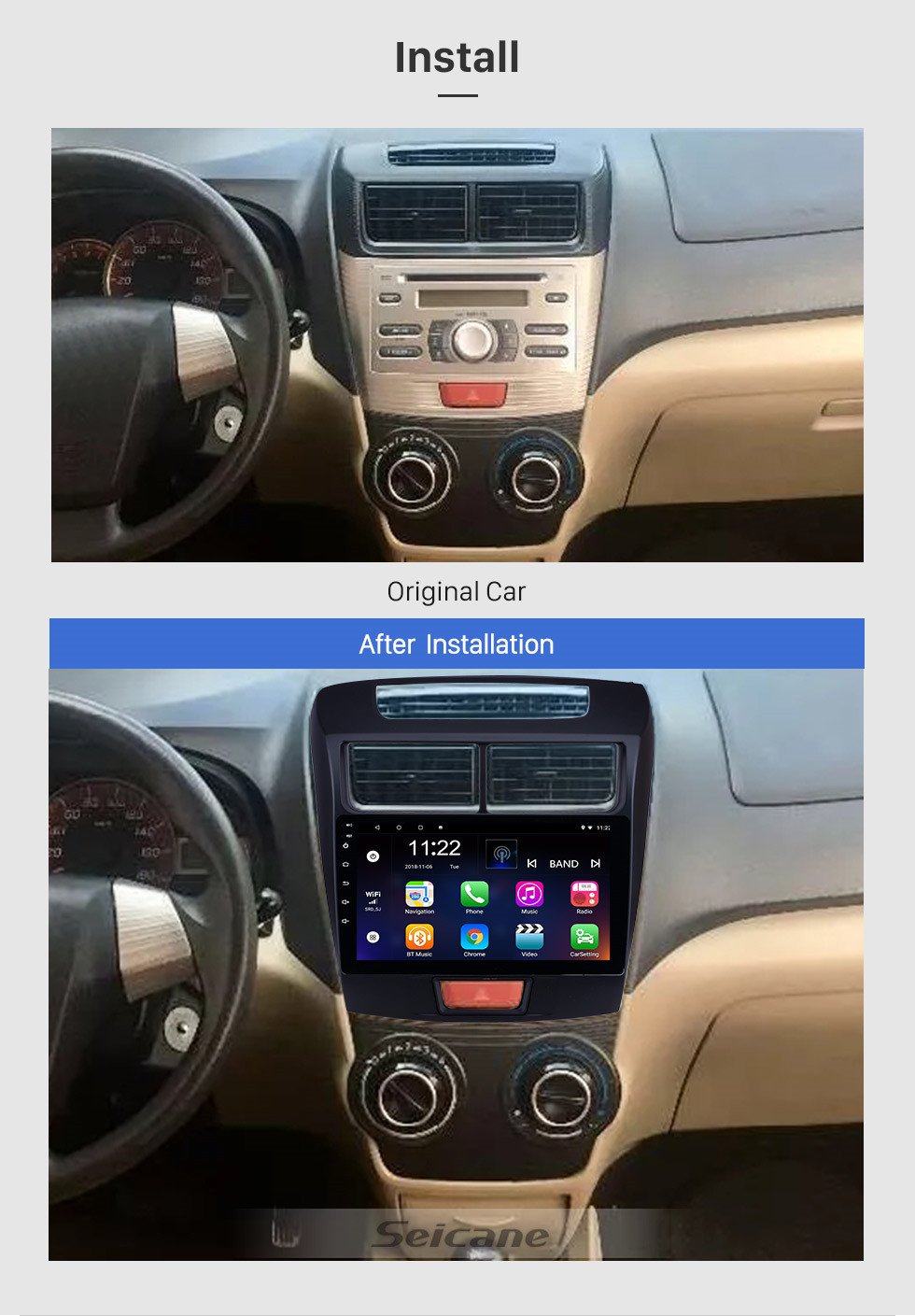 Seicane 2010-2016 Toyota Avanza 9 inch HD Touchscreen Android 10.0 Radio with GPS Navigation system USB WIFI music Bluetooth Mirror Link support DVR Steering Wheel Control OBD2 TPMS 1080P