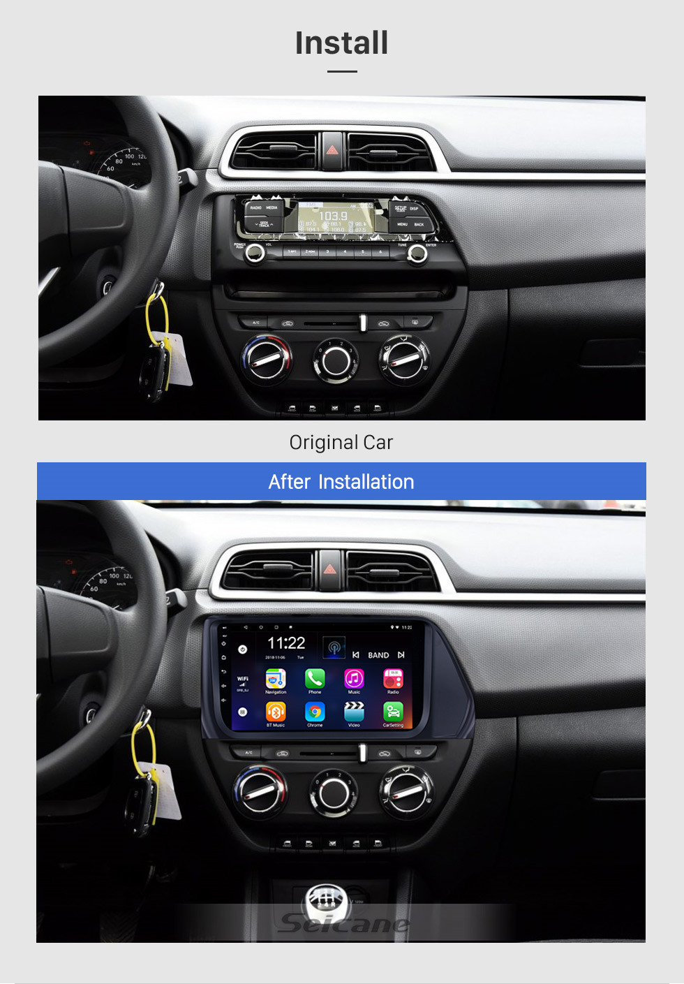 Seicane 9 inch 2017 Hyundai VERNA Android 10.0 Car Multimedia Player Bluetooth Radio with GPS Navigation System Wifi music Mirror Link USB support Steering Wheel Control DVR Rearview Camera OBD2 DAB+