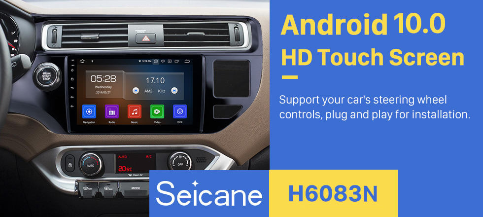 Seicane 9 inch 2012 2013 2014 2015 KIA Rio LHD Android 10.0 HD Touchscreen Radio Installation Support GPS Navigation WIFI Audio system Aux Bluetooth Music USB SD Rearview Camera