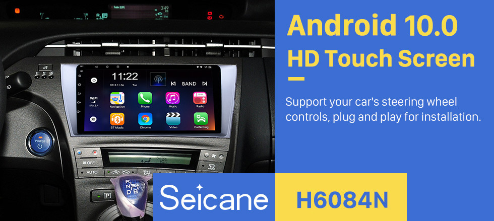 Seicane 9 inch Android 10.0 HD 1024*600 Touch Screen Radio for 2009-2013 Toyota Prius Left hand driver GPS Navigation Bluetooth Music WiFi Mirror Link Rearview Camera AUX