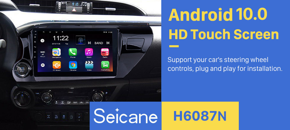Seicane 10.1 inch Android 10.0 HD Touchscreen Radio for 2016 2017 2018 TOYOTA HILUX Left hand Driver with Bluetooth GPS Navi system USB FM Steering Wheel Control support DVR Rearview Camera OBD