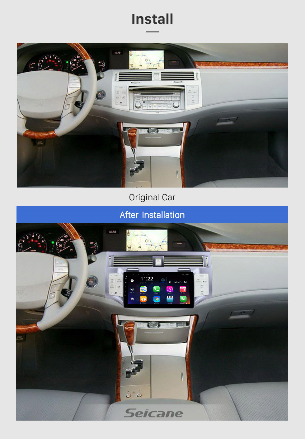 Seicane 2006 2007 2008 2009 2010 TOYOTA AVALON 9 Inch Android 10.0 HD Touchscreen Car Stereo GPS Navigation System  Radio Bluetooth  WIFI  USB Support DAB+ OBDII SWC