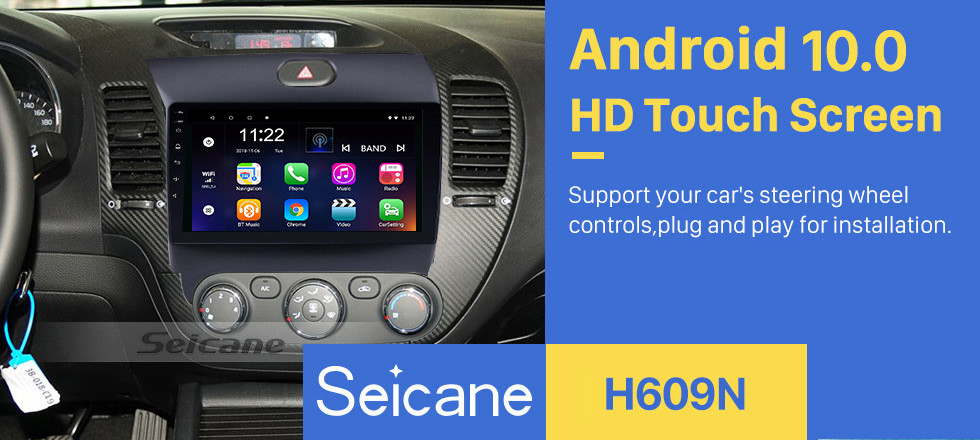 Seicane 9 Inch All-in-One Android 10.0 GPS Navigation system For 2013 2014 2015 2016 KIA K3 CERATO FORTE with Touch Screen TPMS DVR OBD II Rear camera AUX USB SD Steering Wheel Control 3G WiFi Video Radio Bluetooth